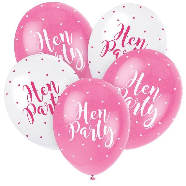 5 hen party balloons