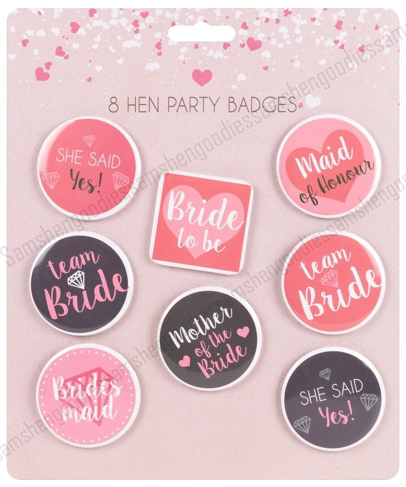 8 Hen Party Team Bride Badges