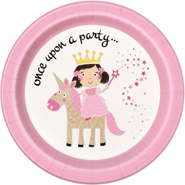 8PK 9IN PRINCESS & UNICORN PLATES