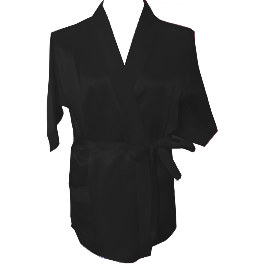 Silky Black dressing gown