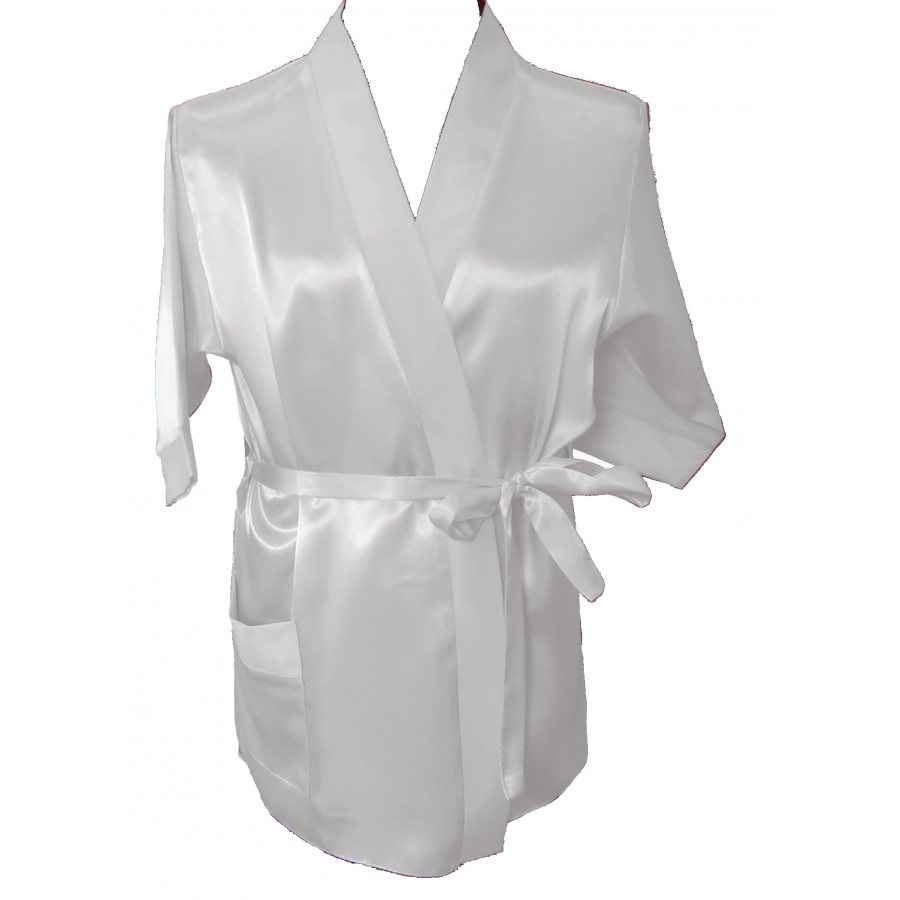 Silky white dressing gown